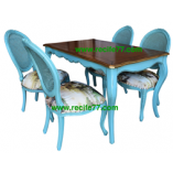 Dining Table set TG with Chair Baroque 01 Blue Finish